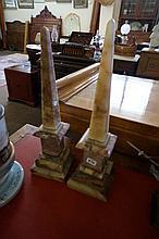 Pr Victorian Onyx & marble obelisks