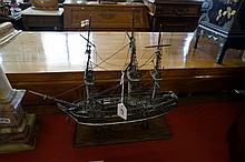 Wooden hand made model of sailing ship
