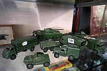 8 vintage Dinky military vehicles