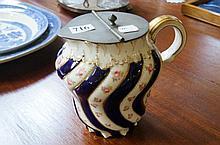 Victorian pewter mounted porcelain jug