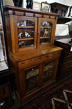 Unusual Victorian oak bookcase of small proportions