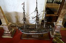 Wooden hand made model of sailing ship