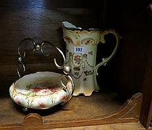 C/Devon pewter lidded jug & dish on EP stand