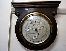 Oak cased wall aneroid barometer
