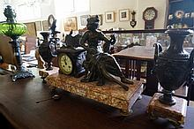 19th Century French spelter figured 3 pc clock set