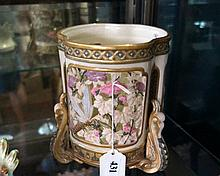 Unusual Royal Worcester pierced jardiniere decorated with birds & butterfli