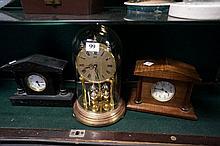 2 marble & blackwood cased clocks & anniversary clock under dome