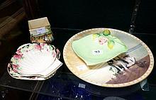 Royal Doulton miniature vase, cottage garden, 2 clover dishes, Royal Winton dis