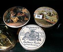 3 Victorian prattware pot lids