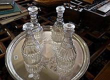 Set of 4 Georgian cut glass decanters