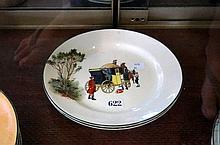 2 Royal Doulton coaching snow scene days bone china plates