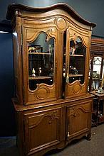 Early 19th Century carved oak glazed top kitchen dresser