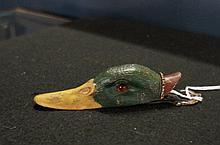 Bronze cold painted duck paper clip with glass eyes
