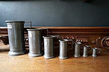 Set of 7 19th Century graduated pewter measuring jugs