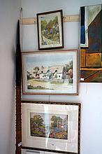 2 Watercolours inc Old Maids cottage Devon by F Catton & print of English c