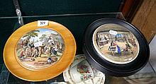 Victorian Prattware pot lid in frame