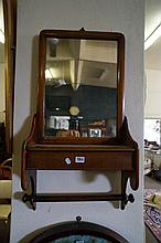 Victorian mahogany  wall mirror with lift drawer & rail