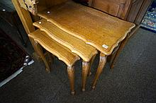 French oak nest of 3 tables