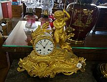 19th Century French ormolu bronze figured mantle clock of cherub fishing