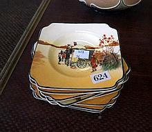 8 Royal Doulton coaching days sandwich plates