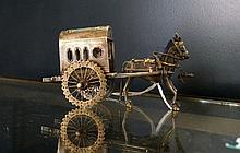 Chinese silver & enamel horse & cart