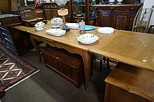 French oak parquetry top draw leaf table
