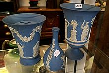 3 Wedgwood blue jasperware vases