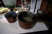 Pr Victorian copper saucepans & copper & pewter lidded jug