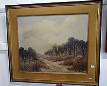 Early 20th Century oil on canvas of French country scene