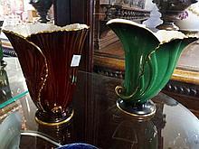 Carltonware vert royale & Carltonware rouge royale vases