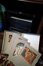 Table top Filing cabinet containing numerous prints of famous paintings