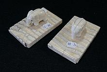 Pr early 19th Century ivory elephant figures on platform bases