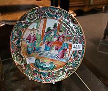 19th Century Chinese export Rose Mandarin plate, with bird in the lantern b