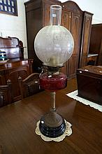 Victorian ruby glass banquet kero lamp with antique etched clear glass shad