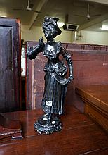 19th Century French bronze figure of Lady, signed Mestais