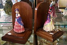 Pr Royal Doulton figured bookends, Paisley Shawl M4 & Victorian Lady M25