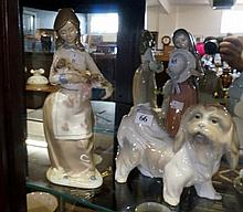 Lladro dog figure & other Lady with Puppies figure
