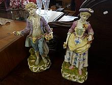Pr large 19th Century German hand painted large figures of young man & woman