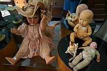 4 early C2oth celluloid dolls