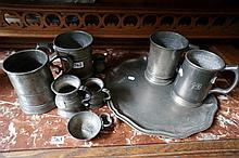 9pcs 18th Century & 19th pewter items inc tankards, measures, quash & tray