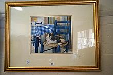 Watercolour of cat, Mikado on a chair by Lesley Anne ivory