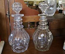 Pr 19th Century cut glass 3 ring decanters