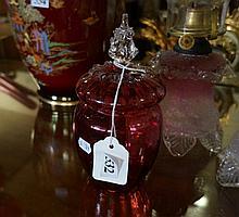 Victorian ruby glass lidded pot
