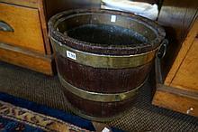Early 19th Century mahogany  & lead lined fuel bucket