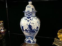 Continental hand painted lidded blue & white vase