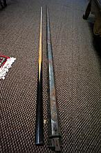 Early 20th Century Thirston & Riley pool cue in original tin case