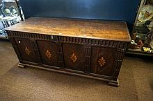 17th Century oak coffer with inlaid panels