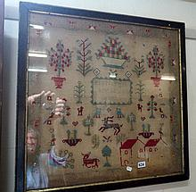 Late Victorian framed sampler by Maria Best, dated 1893