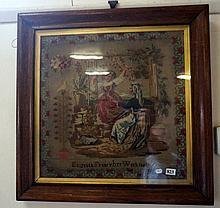 19th Century rosewood framed tapestry by Elizabeth Finney 1868