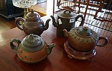 4 Chinese terracotta tea pots